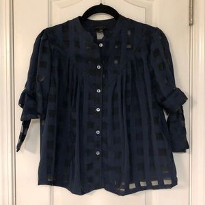 Current Air Blouse Navy Window Pane